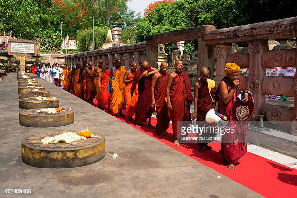 Buddhist monks circumambulate the Mahabodhi temple chanting hymns as a part of Buddha Purnima celebrations in Bodh Gaya the place where lord Buddha...