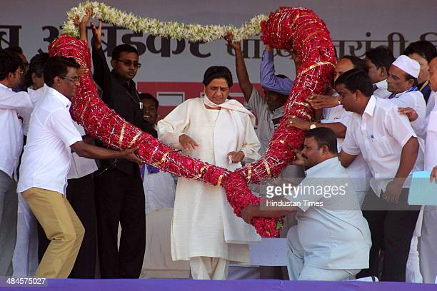 Buddhist monks during an election campaign rally of BSP chief Mayawati at Somaiya ground on April 13 2014 in Mumbai India Mayawati attacked BJP and...