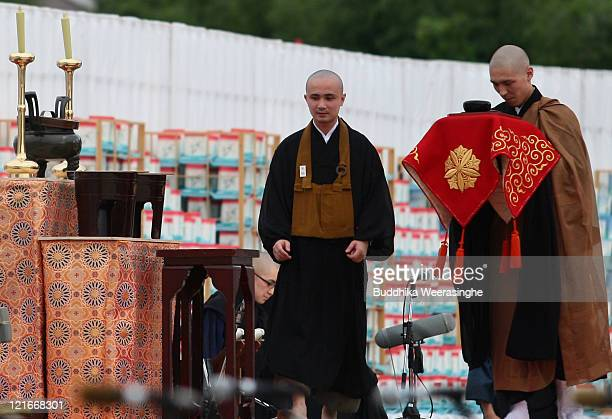 Buddhist Monks during celebrations for the Obon Festival honouring the spirits of deceased ancestors at Eiheiji on August 21 2011 in Fukui Japan The...