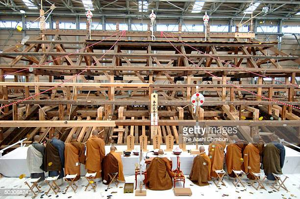 Buddhist monks holds the topping out ceremony at the renovation site of the Kondo golden hall of the Toshodaiji Temple on November 2 2006 in Nara...