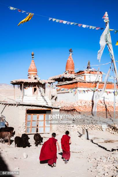 Buddhist monks in a village, Upper Mustang, Nepal