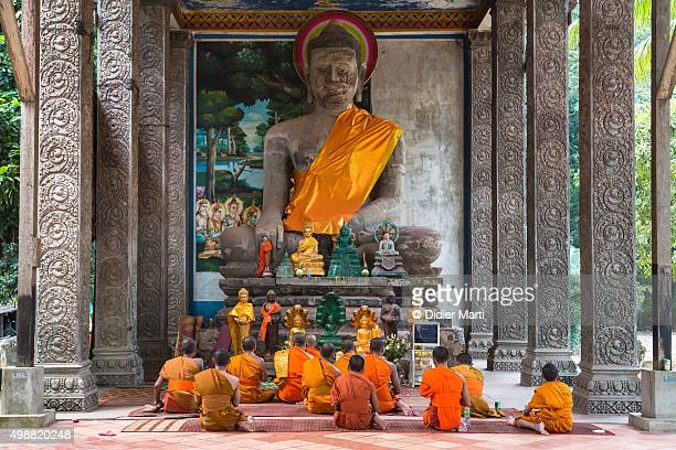Buddhist monks in Angkor Wat in Cambodia
