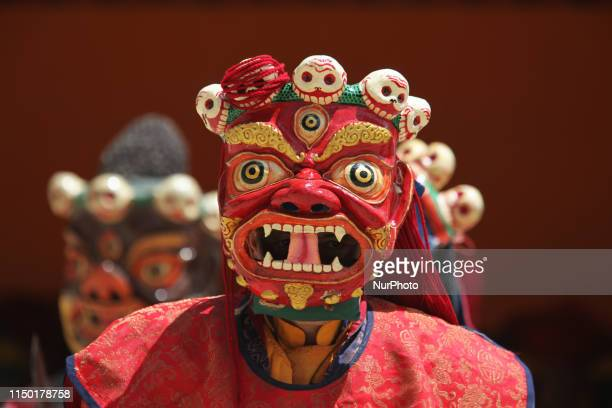 Buddhist monks perform ancient sacred dances during the Lamayuru Masked Dance Festival in Lamayuru Ladakh Jammu and Kashmir India The dance...