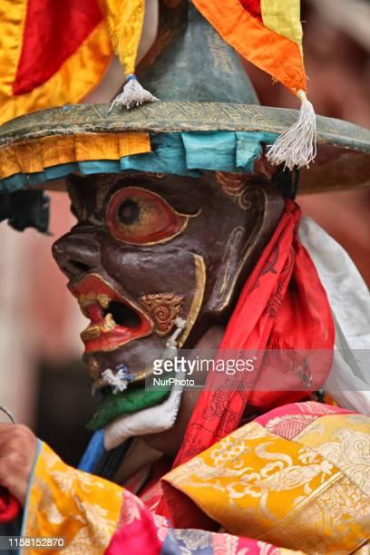 Buddhist monks perform ancient sacred dances during the Lamayuru Masked Dance Festival in Lamayuru Ladakh Jammu and Kashmir India The dance...