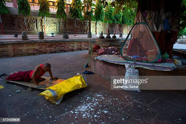 Buddhist monks pray at Mahabodhi temple complex as a part of Buddha Purnima celebrations at Bodh Gaya the place where lord Buddha attained...