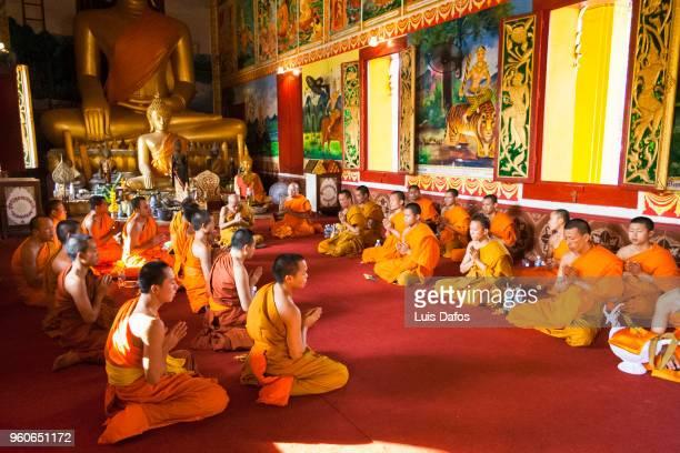 Buddhist monks pray at Wat Inpeng monastery.
