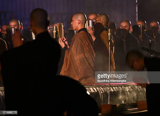 Buddhist Monks pray during celebrations for the Obon Festival honouring the spirits of deceased ancestors at Eiheiji on August 21 2011 in Fukui Japan...