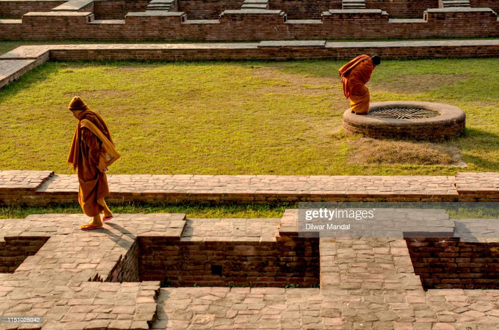 Buddhist Monks, Sarnath, Varanasi : Stock Photo