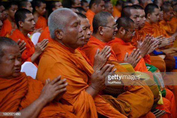 Buddhist monks to mark the 2 year anniversary of the Thai King Bhumibol Adulyadej's death at Siriraj Hospital in Bangkok Thailand 13 October 2018