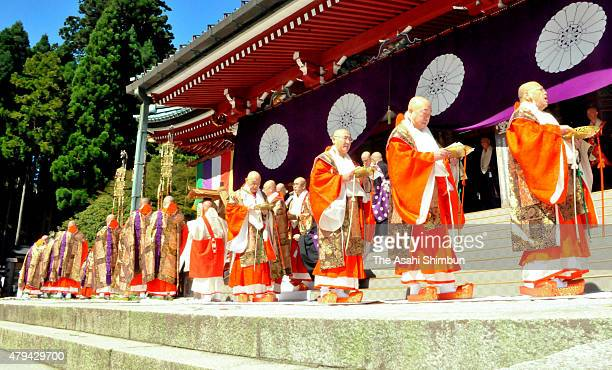 Buddhist monks wearing formal clothes at the main hall during the 'Hokke Daie' at Enryakuji Temple on October 4 2011 in Otsu Shiga Japan