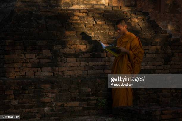 Buddhist novice are standing reading a book at the temple