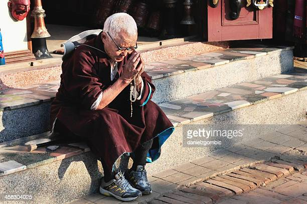 Buddhistische Nonne in meditation