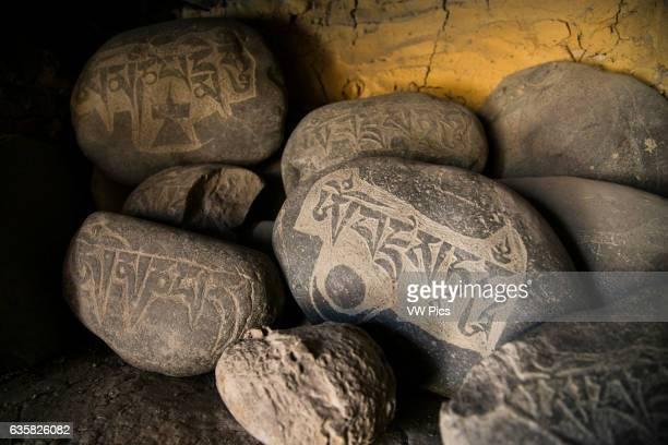 Buddhist objects on a buddhist monastery in Zanskar valley Northern India