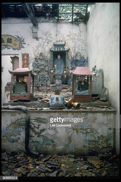 Buddhist Pagoda in Hanoi showing destruction from bombing