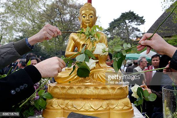 buddhist pagoda in vincennes. celebration of the khmer new year. offerings of perfumed water. - khmer stock pictures, royalty-free photos & images
