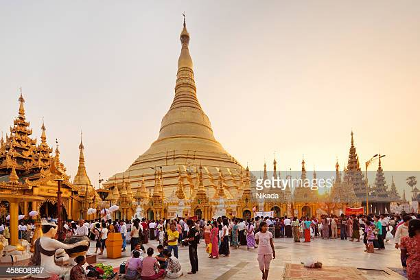 buddhist pilgrims - yangon stock pictures, royalty-free photos & images