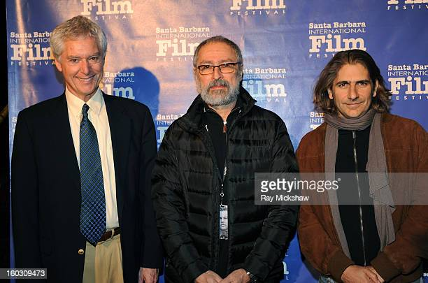Buddhist practitioner Alan Wallace director David Cherniak and actor Michael Imperioli attend a screening of Retreat at the 28th Santa Barbara...