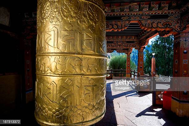 buddhist prayer wheel - paro stock photos and pictures