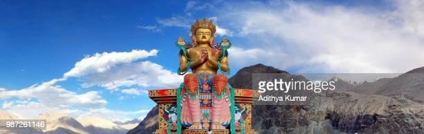 A buddhist statue at the Diskit Monastery in Ladakh, India.