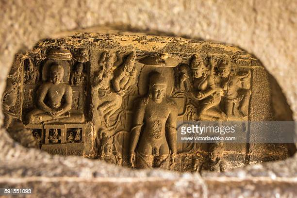 buddhist stone carvings at ellora caves - ellora stock pictures, royalty-free photos & images