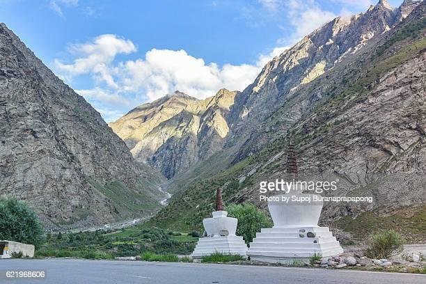 buddhist stupa on the road way between jispa to leh ladakh , India