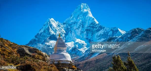 Buddhist stupa shrine Ama Dablam Himalaya mountain peak panorama Nepal