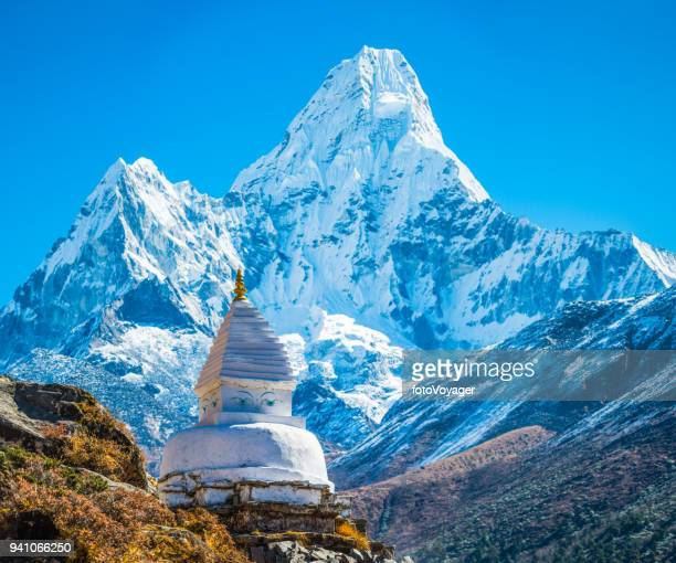 buddhist stupa shrine below ama dablam mountain peak himalayas nepal - stupa stock pictures, royalty-free photos & images