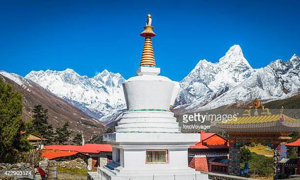 Buddhist stupa Tengboche monastery overlooked by Everest Himalaya mountains Nepal