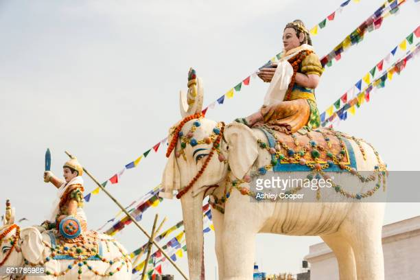 buddhist symbols at he boudanath stupa, one of the holiest buddhist sites in kathmandu, nepal - stupa stock pictures, royalty-free photos & images