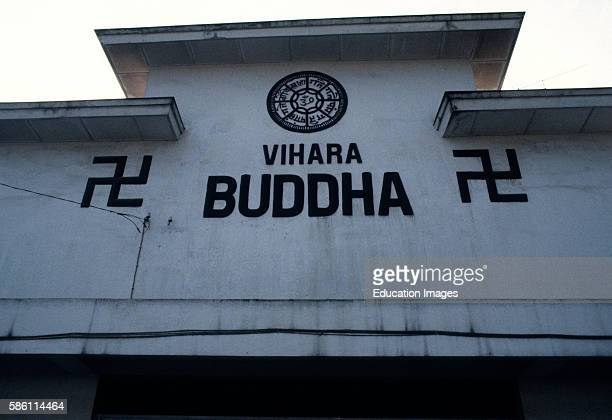Buddhist Temple ancient swastika symbol was copied in reverse by Hitler Bali Indonesia 1983