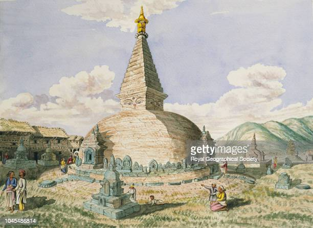 Buddhist temple called 'Dundeo' near Pasupati sketched from opposite its south-east angle, Nepal.