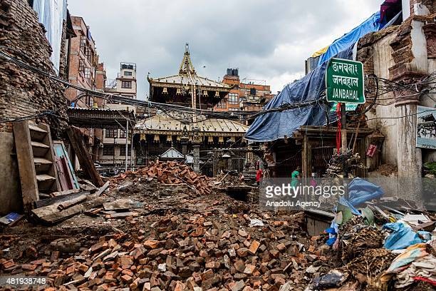 Buddhist temple surrounded by debris in Kathmandu, Nepal on July 25 2015. . Today marks the 3 month anniversary of the Nepal earthquakes which at...