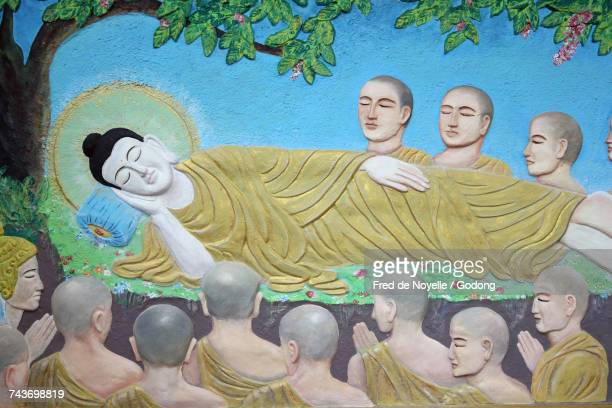 Buddhist temple. Thien Minh Pagoda. Reclining Buddha statue.  France.