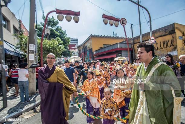 Buddhists celebrate Buddha's birthday in the Liberdade neighborhood in São Paulo, on May 21, 2019 Buddha Purnima, also known as Buddha Jayanti is the...