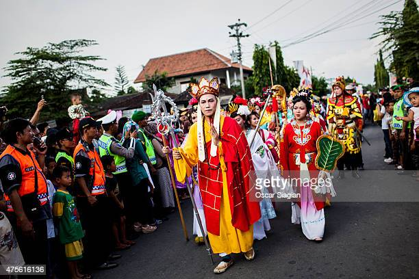 Buddhists walk to Borobudur temple for Vesak Day on June 2 2015 in Magelang Indonesia Buddhists in Indonesia celebrate Vesak at the monument annually...