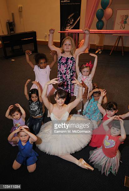Budding ballerinas joined Sky 3D and dancers from English National Ballet to celebrate 'Angelina Ballerina' going 3D with a dance lesson and a tea...