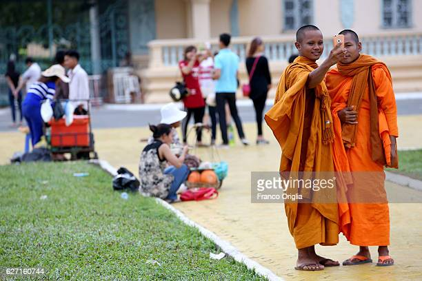 Buddist monkies take a selfie in front of the Royal Palace on December 2 2016 in Phnom Penh Cambodia Cambodia was used as a base by the North...