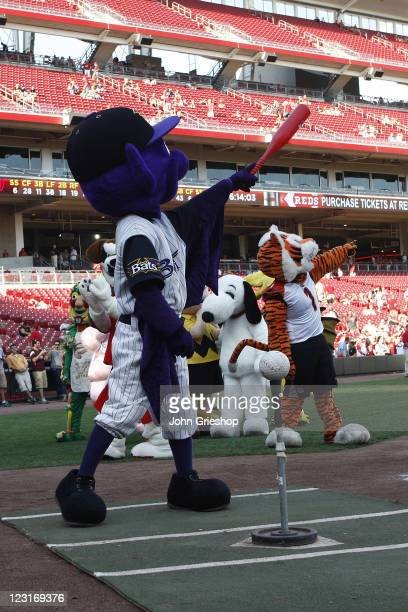 Buddy Bat of the Louisville Bats calls out his shot during the annual Mascot Tee Ball game prior to the game between the Cincinnati Reds and...