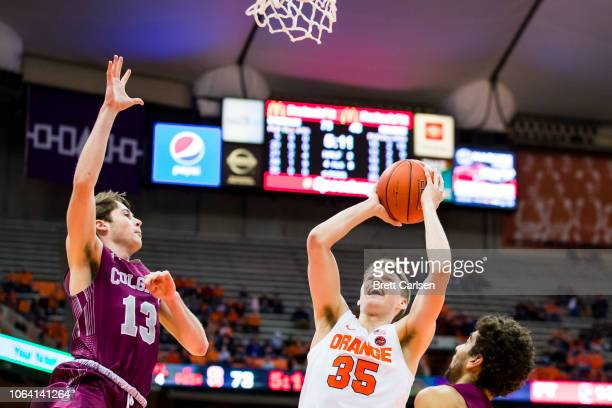 Buddy Boeheim of the Syracuse Orange puts up a missed shot during the second half against the Colgate Raiders at the Carrier Dome on November 21 2018...