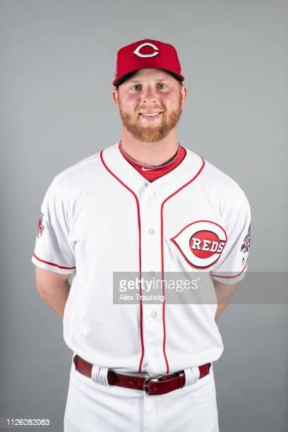 Buddy Boshers of the Cincinnati Reds poses during Photo Day on Tuesday February 19 2019 at Goodyear Ballpark in Goodyear Arizona