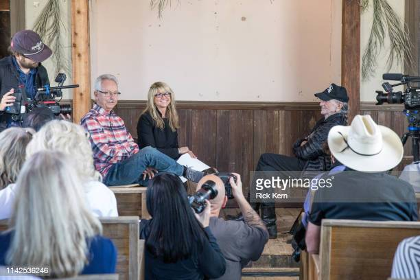 Buddy Cannon Paula Nelson and Willie Nelson discuss Willie's Nelson's new album 'Ride Me Back Home' during a taping for SiriusXM's Willie's Roadhouse...