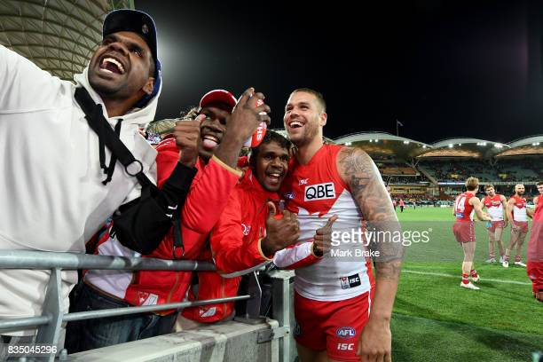 Buddy Franklin of the Swans thanks his supporters during the round 22 AFL match between the Adelaide Crows and the Sydney Swans at Adelaide Oval on...