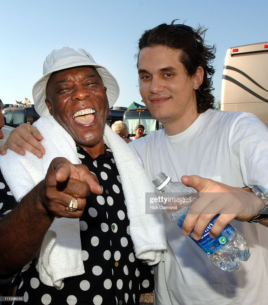 Buddy Guy and John Mayer during FARM AID 2005 Presented by SILK Soymilk at Tweeter Center in Tinley Park, Illinois, United States.