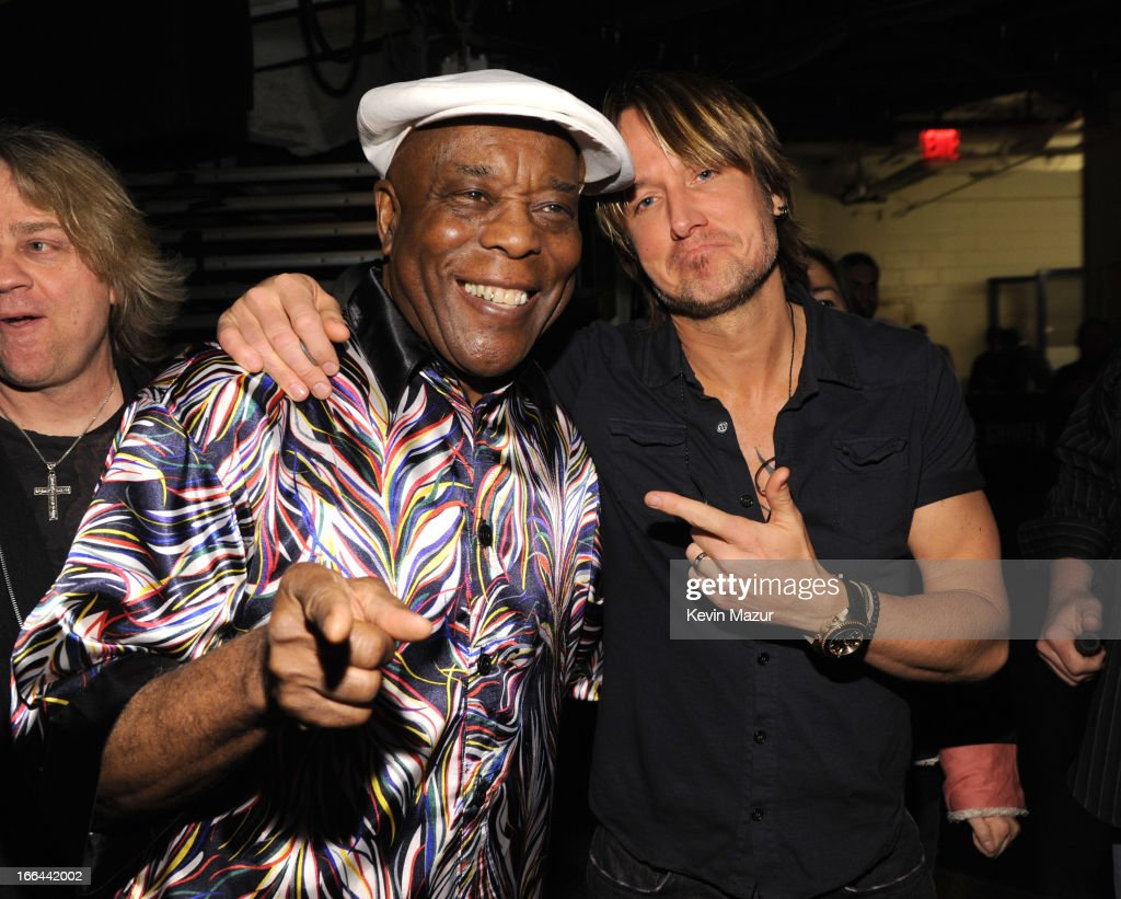 Buddy Guy and Keith Urban backstage during the 2013 Crossroads Guitar Festival at Madison Square Garden on April 12, 2013 in New York City.