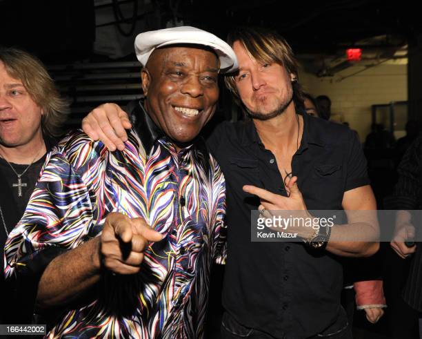 Buddy Guy and Keith Urban backstage during the 2013 Crossroads Guitar Festival at Madison Square Garden on April 12 2013 in New York City