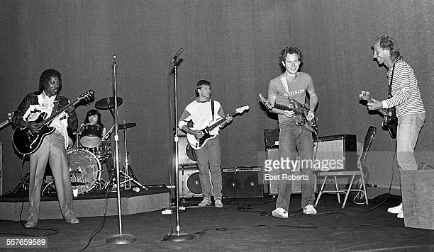 Buddy Guy Bobby Chouinard Alex Lifeson of Rush and tennis players John McEnroe and Vitas Gerulaitis rehearsing at SIR Studios for a benefit concert...