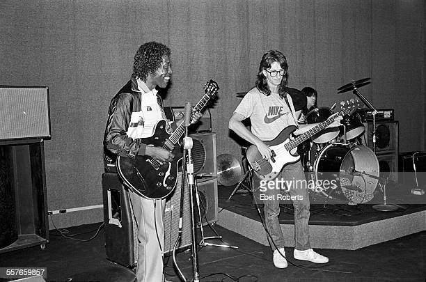 Buddy Guy Geddy Lee of Rush and Bobby Chouinard rehearsing at SIR Studios for a benefit concert in New York City on July 15 1983