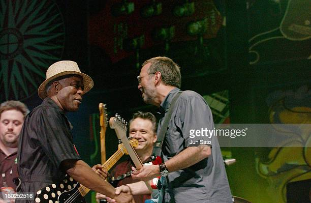 Buddy Guy Jimmie Vaughan and Eric Clapton during Crossroads Guitar Festival Day Two All Star Blues Jam Hosted by Eric Clapton at Fair Park in Dallas...