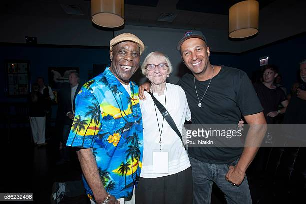 Buddy Guy Mary Morello and Tom Morello at Buddy Guy's 80th Birthday Party at Buddy Guy's Legends in Chicago Illinois August 1 2016