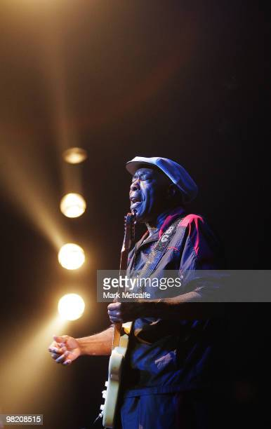 Buddy Guy performs on stage during Day 2 of Bluesfest 2010 at Tyagarah Tea Tree Farm on April 2 2010 in Byron Bay Australia